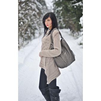 Skórzana beżowa torba damska xxl na ramię