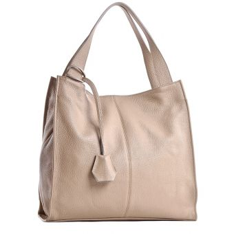 Skórzana torebka damska xxl na ramię worek beżowa