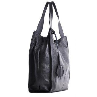 Duża torba ze skóry licowej a4 na ramię czarna