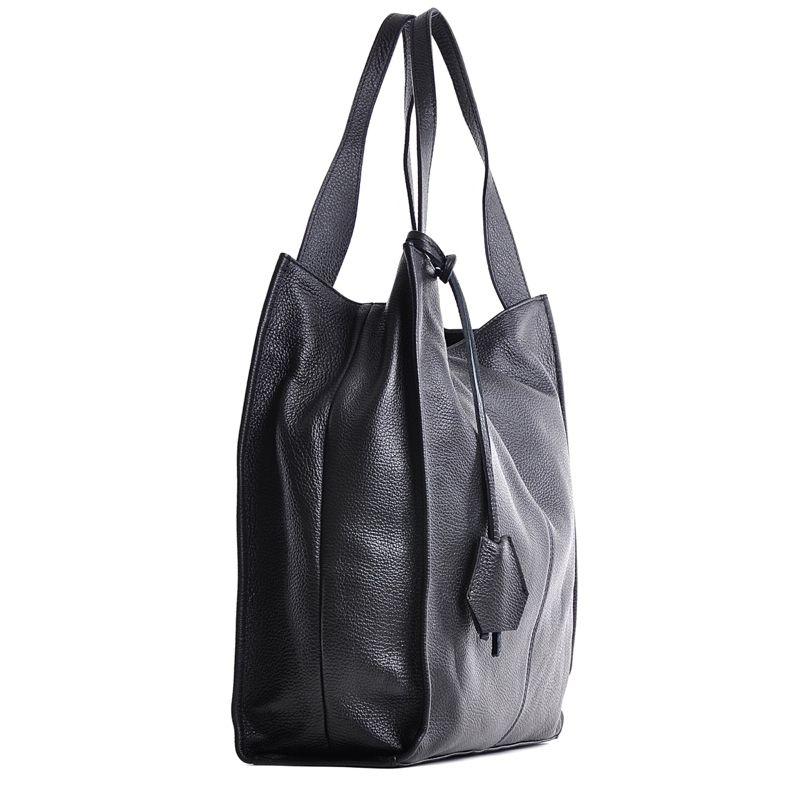 093f82c97a6ca Duża torba ze skóry licowej a4 na ramię czarna
