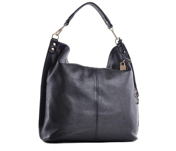 76230e46e4d8c Czarna torebka skórzana worek na ramię elegancka