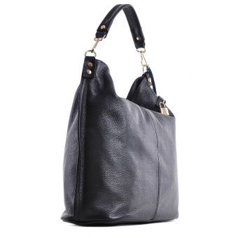 Czarna skórzana torebka na ramię elegancka