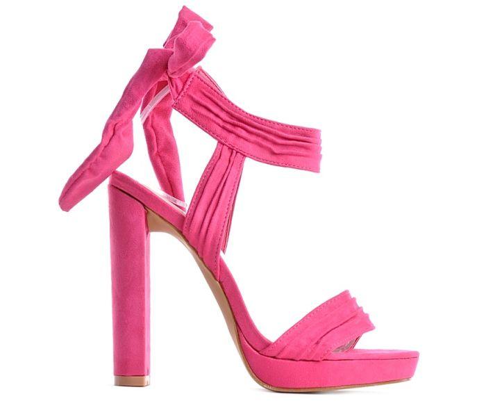 c37ed262d33b77 Różowe sandały damskie zamszowe na słupku wiązane