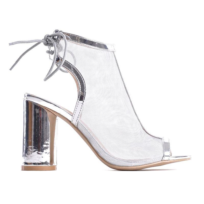 9f364feb1cd830 ... Srebrne sandały na obcasie wieczorowe buty ślubne · Różowe sandały  damskie zamszowe na słupku wiązane ...