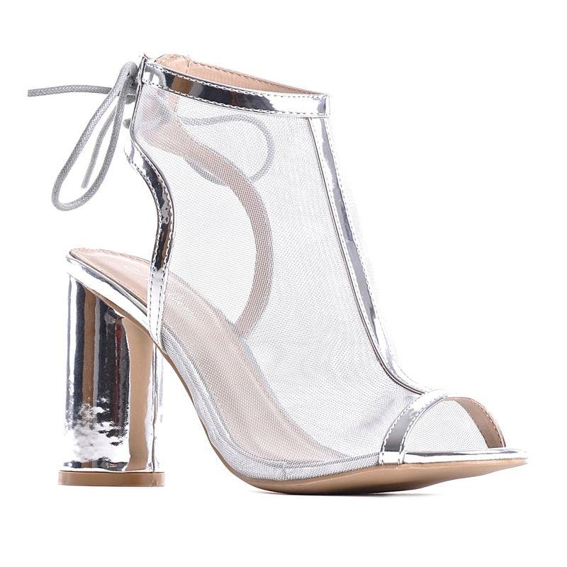 dbe4fade50b175 Różowe sandały damskie zamszowe na słupku wiązane · Srebrne sandały na  obcasie wieczorowe buty ślubne · Różowe sandały damskie zamszowe ...