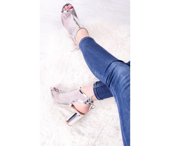 Srebrne sandały na obcasie wieczorowe buty ślubne