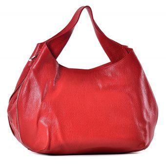 Duża czerwona torebka skórzana na ramię