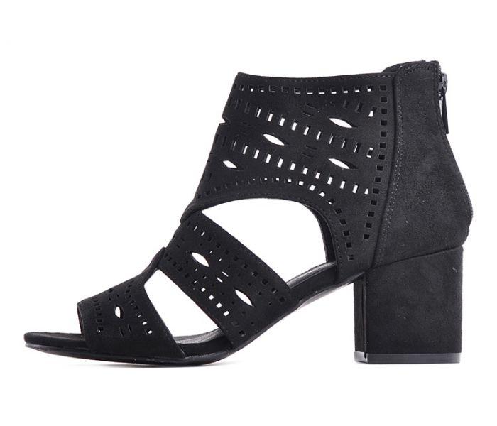 766fd24a99a63 Czarne sandały zamszowe na słupku