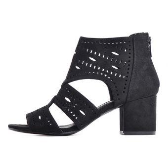 Gustowne sandały damskie zamszowe czarne niskie