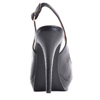 Wieczorowe czarne sandały damskie na szpilce