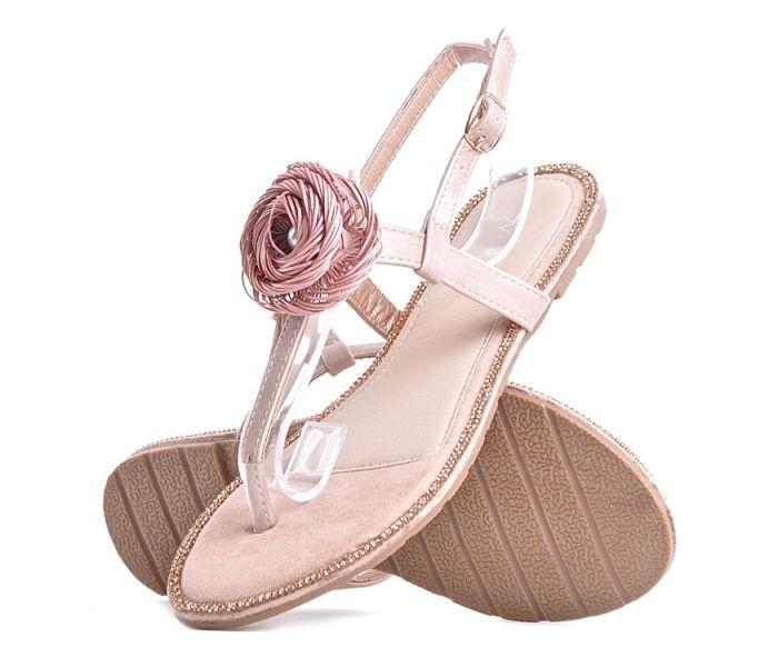 Sandały płaskie damskie z kryształkami i frędzlami różowe