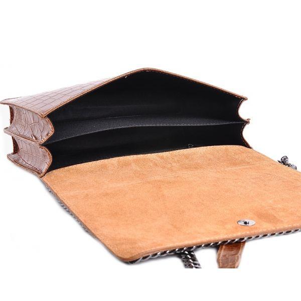 Wizytowa torebka skórzana kopertówka granatowa