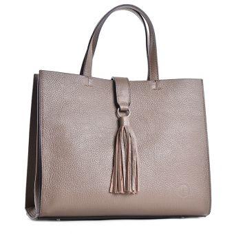 Beżowa torebka damska ze skóry naturalnej kuferek