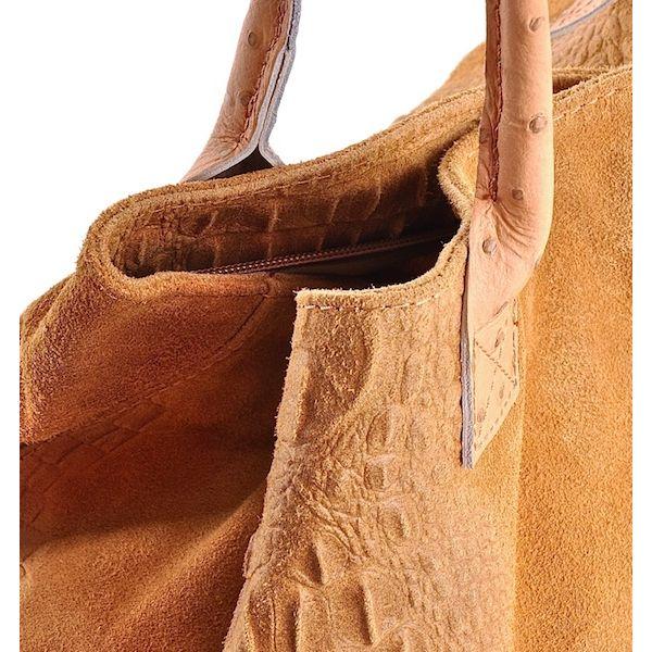 Zamszowa torebka skórzana na lato