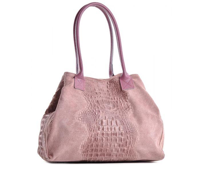 Różowa torba zamszowa włoska duża na lato