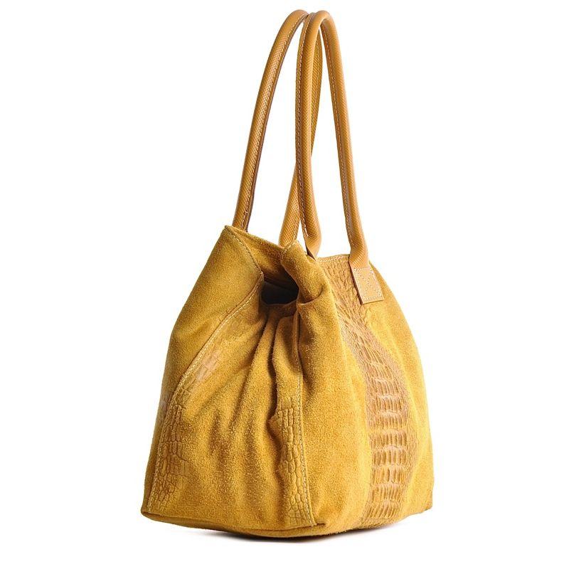 661ed8a50c512 Uniwersalna torebka damska ze skóry zamszowej żółta
