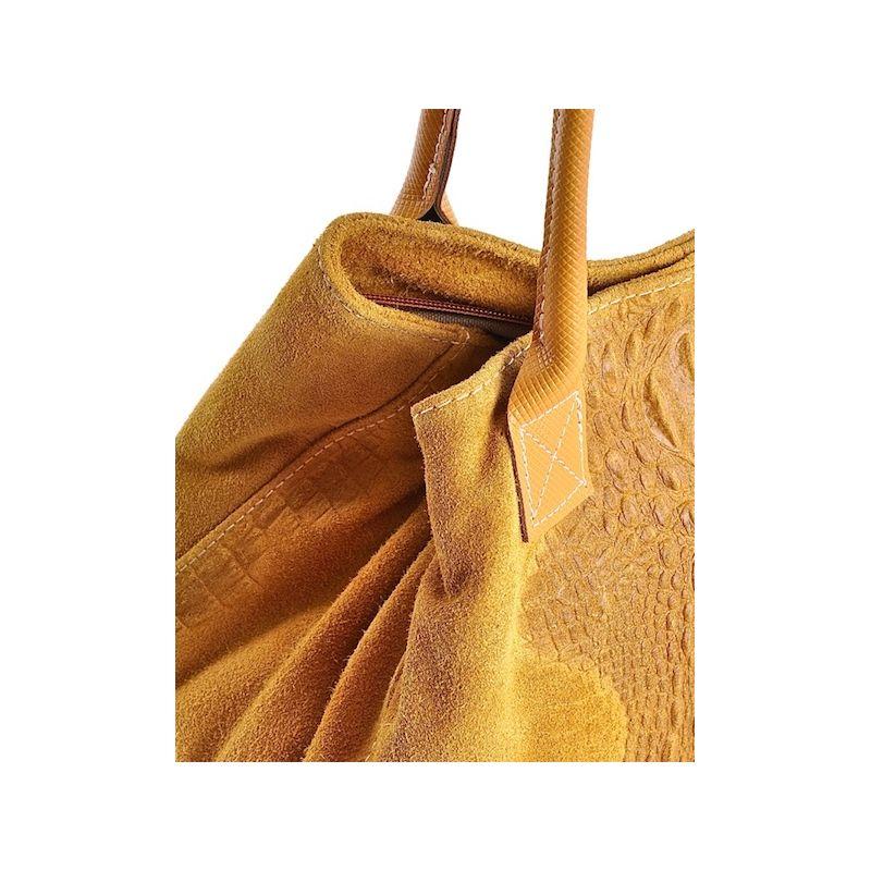 9e49aed646f2b Uniwersalna torebka damska ze skóry zamszowej żółta