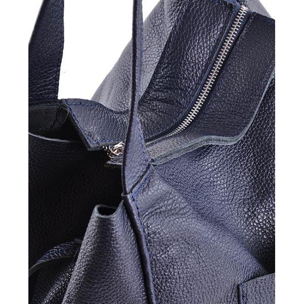 Modna włoska torebka skórzana worek brązowa