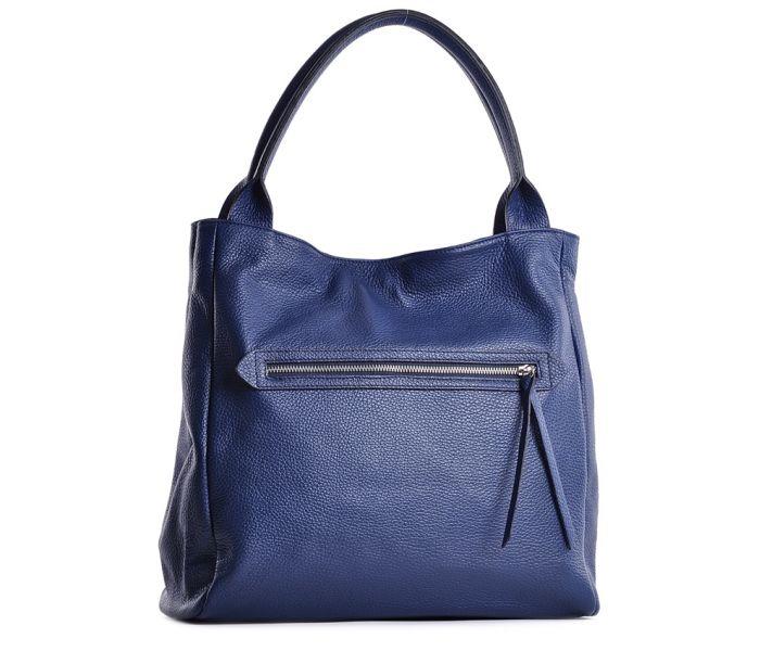 2b3aaa336c282 Niebieska torebka damska ze skóry włoska