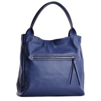 Niebieska torebka damska ze skóry włoska