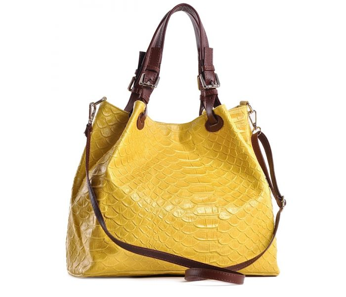 Żółta torba skórzana z zamszu worek na lato