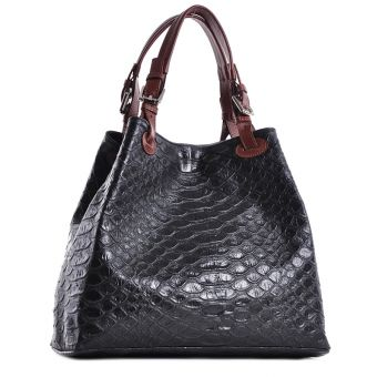 Dwukomorowa damska torebka skórzana czarna