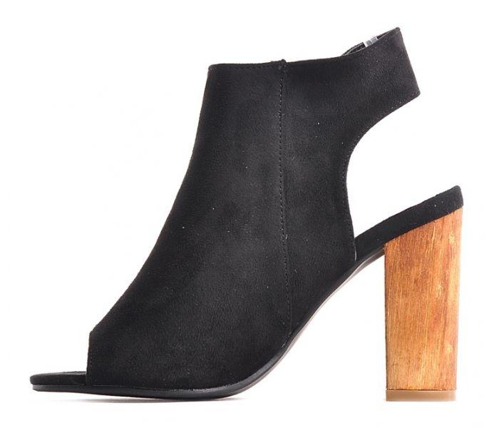 ed541a13 Czarne sandały na słupku z odkrytą piętą