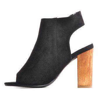 Czarne sandały damskie na słupku zjawiskowe