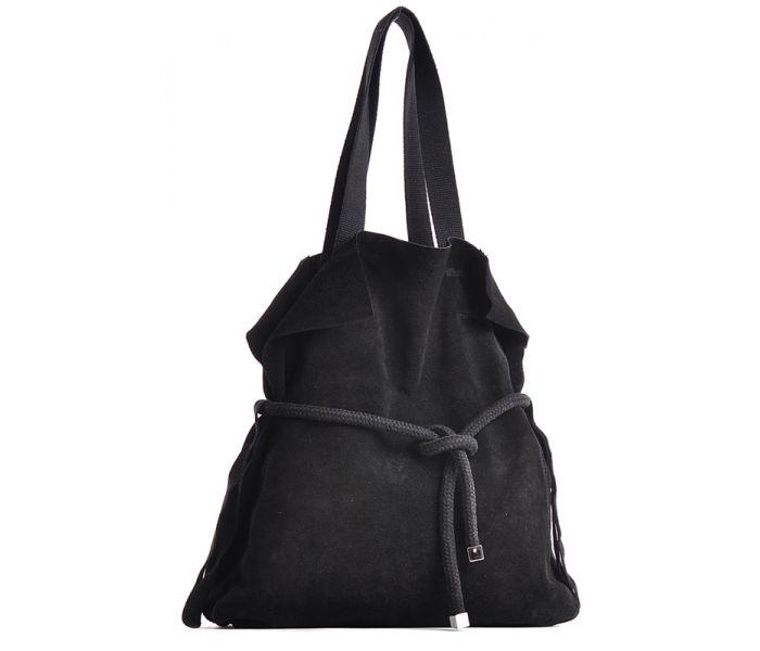 Czarna torebka zamszowa worek