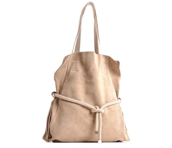 Beżowa torebka zamszowa na ramię