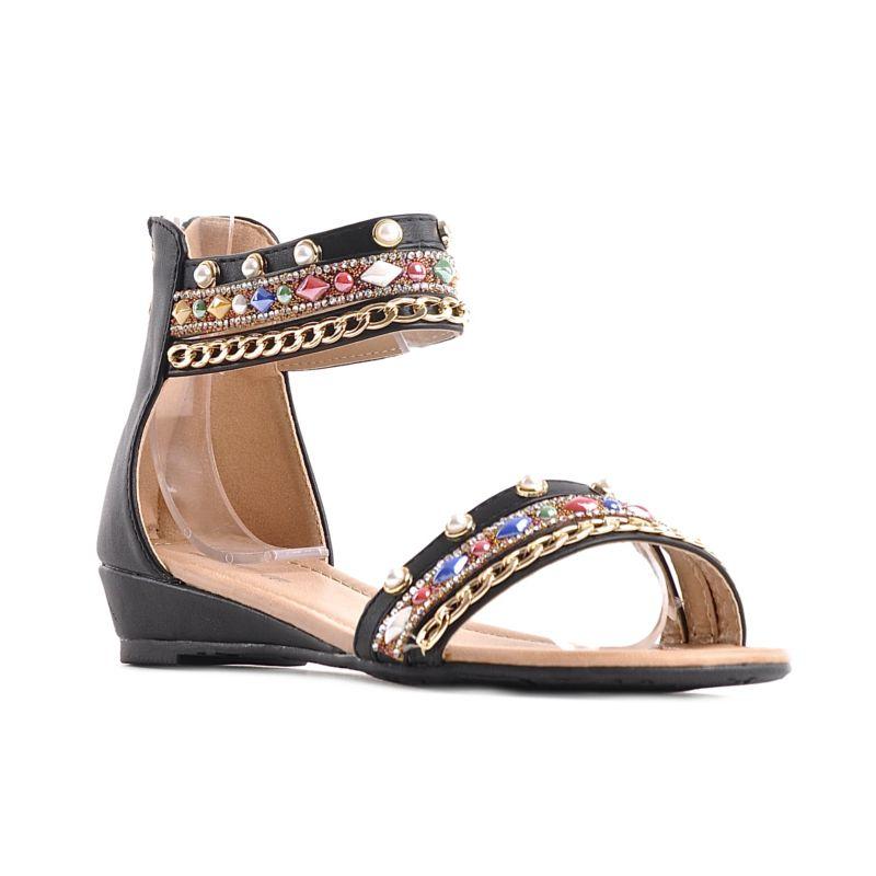 c4a4c5664b9254 ... zakrytą piętą · Czarne sandały boho z koralikami ...