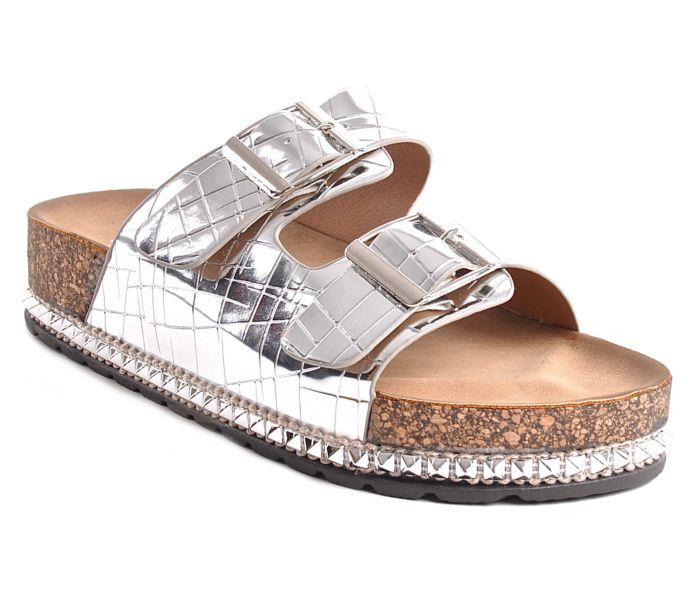 Profilowane klapki srebrne na platformie