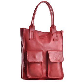 Szara torba damska skórzana z kieszeniami