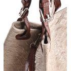 Jasna torebka skórzana włoska na ramię beżowa