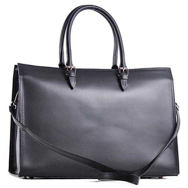 Elegancka czarna torebka skórzana