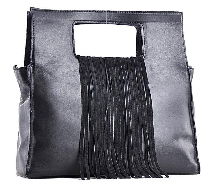 Czarna torebka skórzana z frędzlami