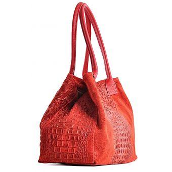 Zamszowa torebka skórzana czerwona