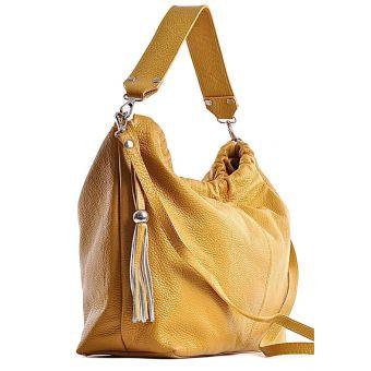 Bordowa torebka skórzana z frędzlami