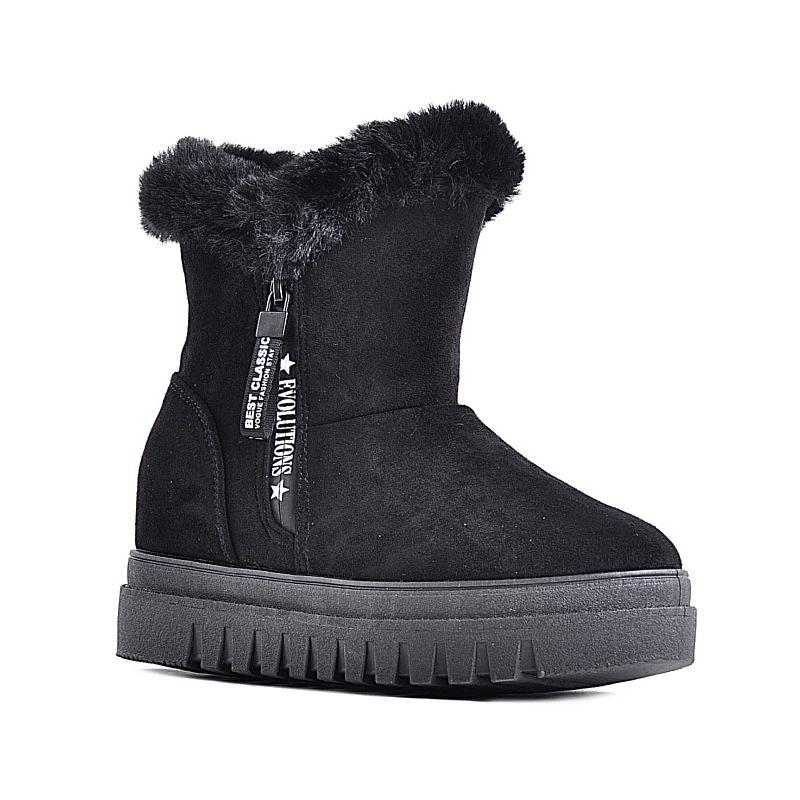 ed049c3d Zimowe buty damskie czarne z futerkiem