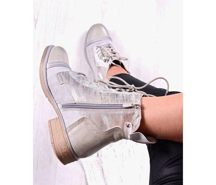 Srebrne buty damskie botki