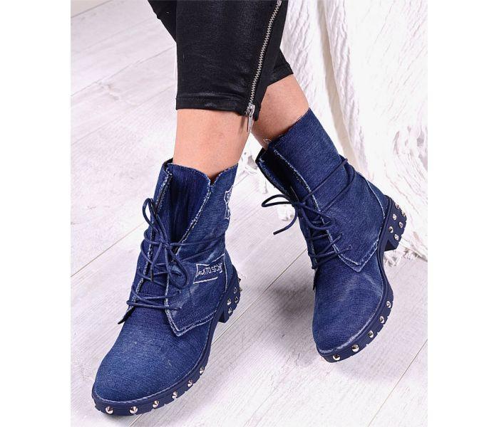 Jeansowe botki damskie wiązane