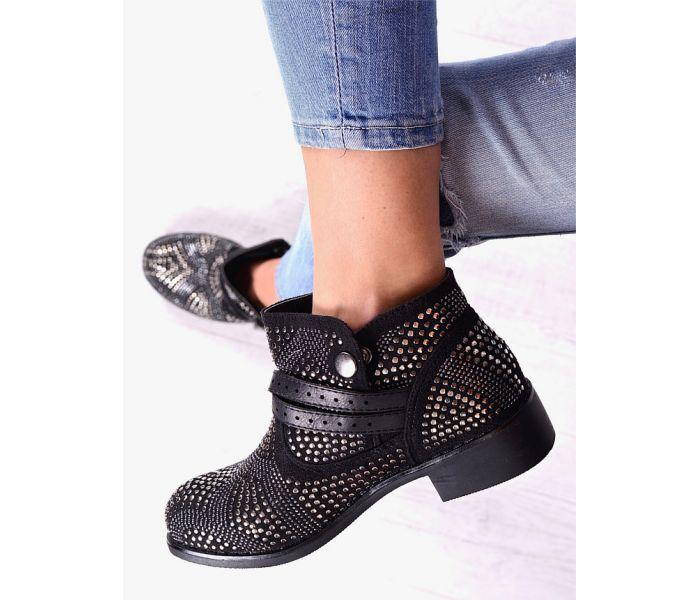 Czarne buty damskie do kostki