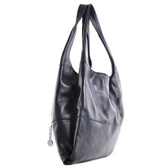 Skórzana włoska torebka damska czarna