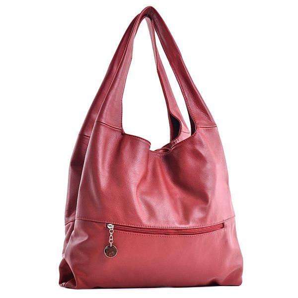 Skórzana włoska torebka damska czerwona