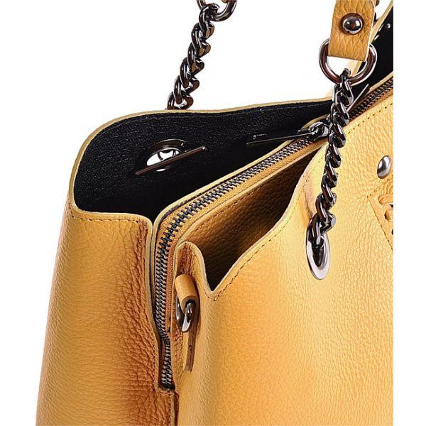 Duża torba damska na ramię żółta