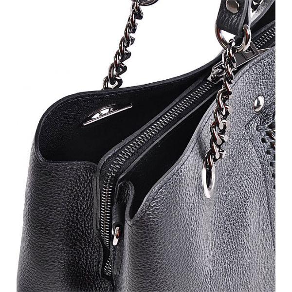 Elegancka czarna torba damska ze skóry