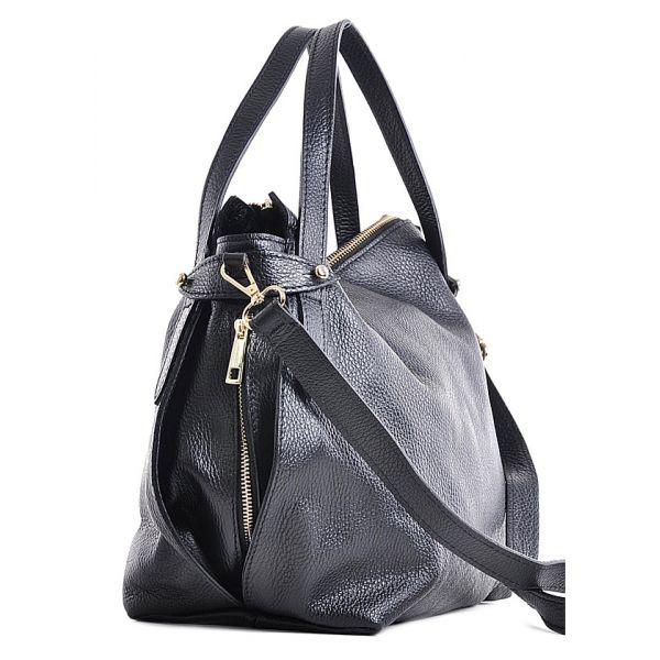 Granatowa torba skórzana damska