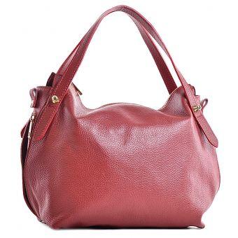 Włoska torebka skórzana czerwona