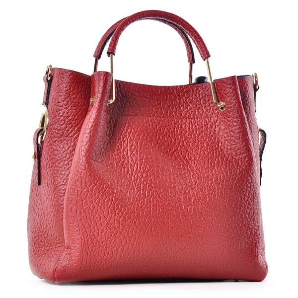 Modna torebka skórzana damska czerwona do ręki