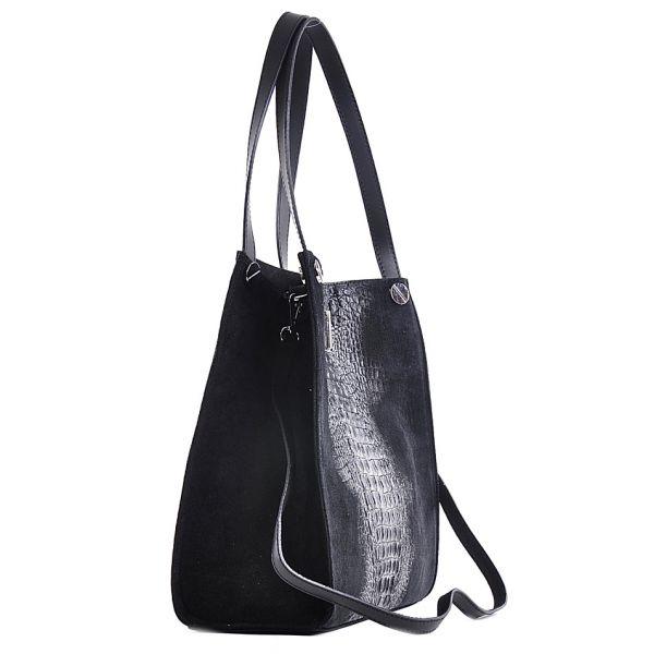 Elegancka czarna torebka damska ze skóry